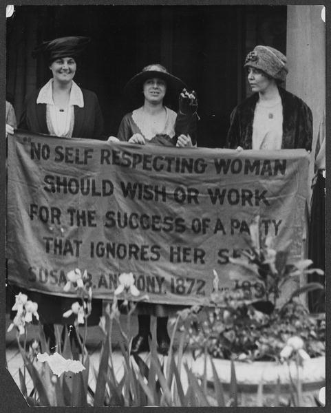 Women's Suffragists protesting at the Republican Convention for the right to vote in 1920