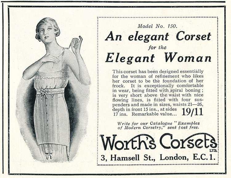 Corset advertisement from 1922 emphasizing on the slimming, almost 'boyish' figure it gives.