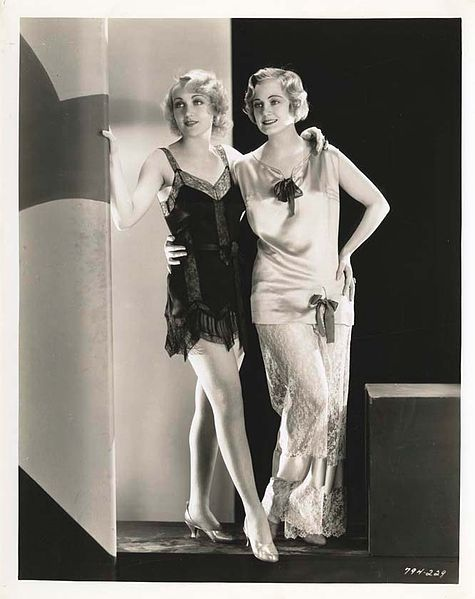 Carole Lombard and Josephine Dunn wearing a lovely silk and lace step in and loose fitting pajamas