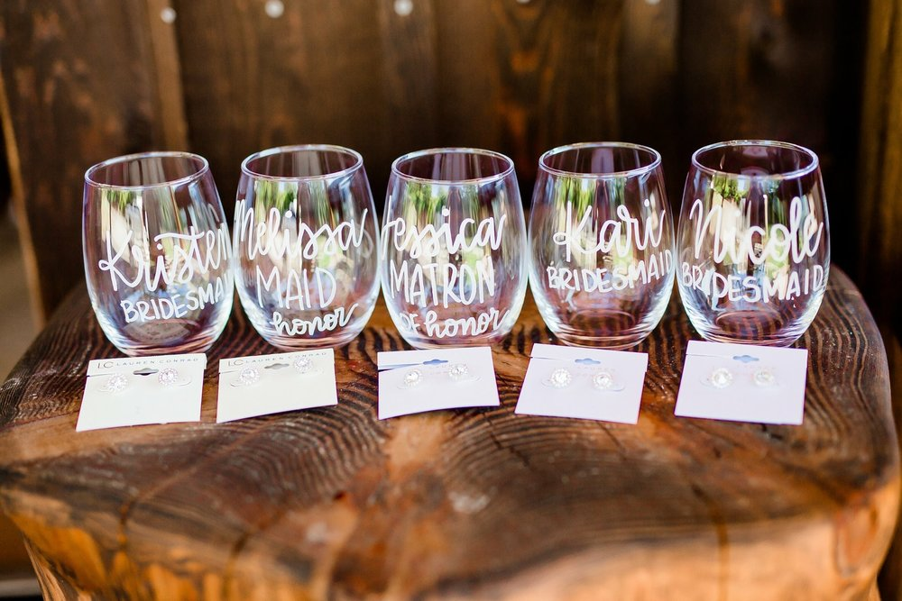Personalized bridesmaid wine glasses