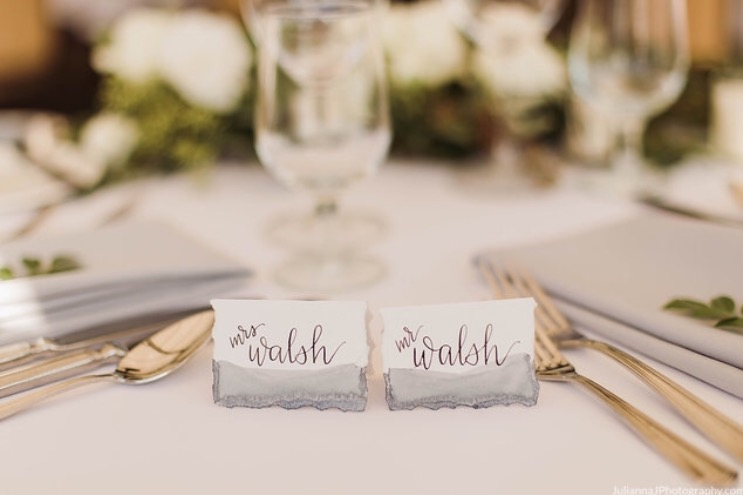 Mr and Mrs watercolor placecards