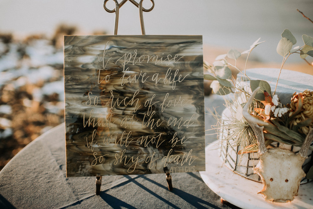 Hand lettered sing with love poem