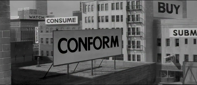 "Scene from the movie ""They Live"" (1988), by John Carpenter. 