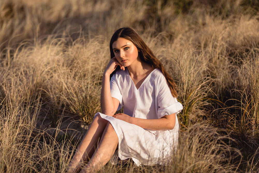 white dress fashion shoot in tauranga