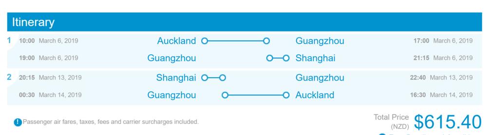 Auckland to Shanghai
