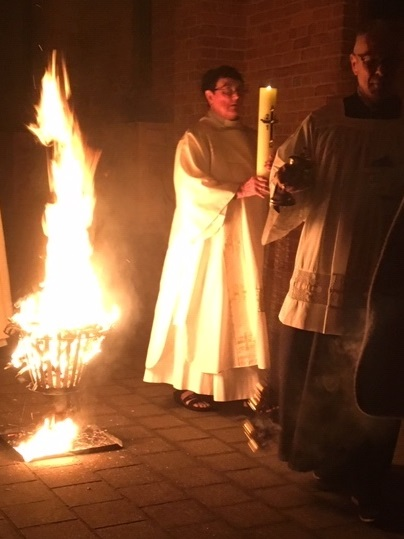 The New Fire and the Paschal Candle. Sr Juliana deacons the Easter Vigil