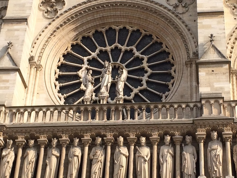 Rose window on front facade
