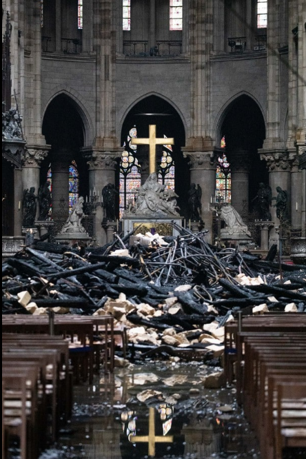 Interior damage to Notre Dame (photo credit Christophe Morin/Bloomberg)