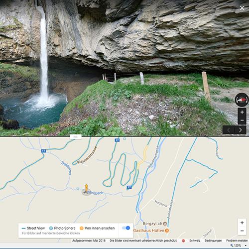 2. Recherche Teil 1 - Location  Habe ich dann mal ein Motiv im Visier, versuche ich mehr dazu herauszufinden. Da kommt Google ins Spiel. Mit Hilfe von Google Search, Google Maps und Google Streetview mache ich das Motiv ausfindig und erkunde die Location virtuell (z.Bsp. hat es in der Nähe Parkplätze, Unterkünfte, Verpflegungsmöglichkeiten, Toiletten, etc.). Bei Google Streetview sieht man auch immer das Aufnahmedatum. Auch das hilft die Jahreszeit und die Umgebung richtig einzuschätzen!  Um mehr über das Motiv zu erfahren suche ich auch nach aktuellen Web-Cam Bilder. So lassen sich allenfalls Überraschungen vermeiden wie z.Bsp. temporäre Baustellen, Sperrungen, etc.!  Ist die Location z.Bsp. in einem Park/Reservat, erkundige ich mich auch nach Öffnungszeiten und Eintritten.
