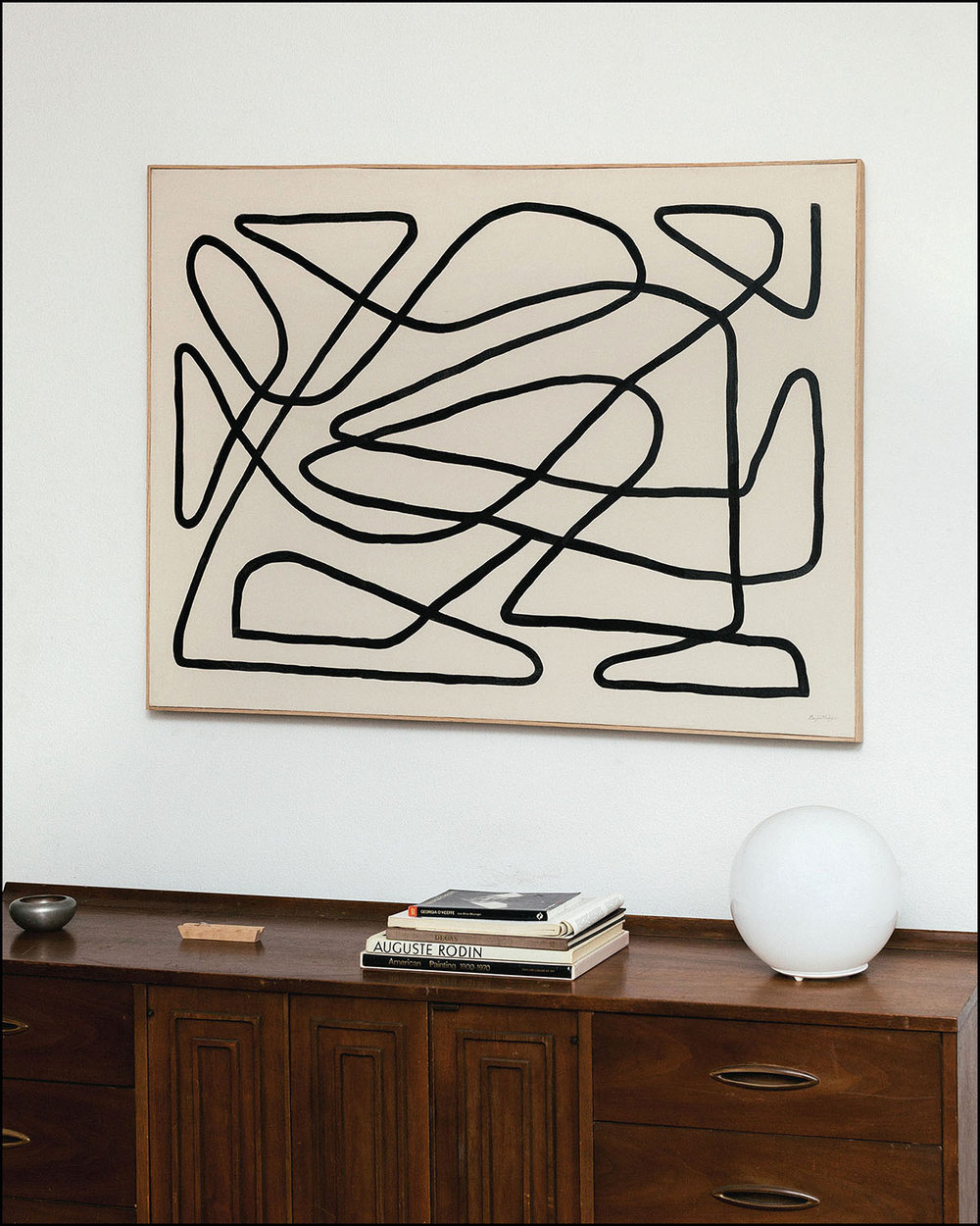 Carry  - 2017 -Ink on Paint on Canvas -Oak Frame -48 x 36 inches (121.9 X 91.4cm)
