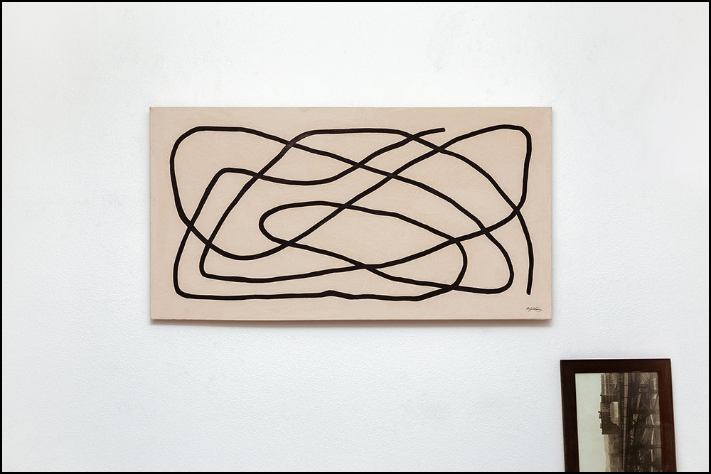 Fold  - 2017 -Ink on Acrylic on Canvas -45 X 24 Inches (114.3 X 60.9cm)