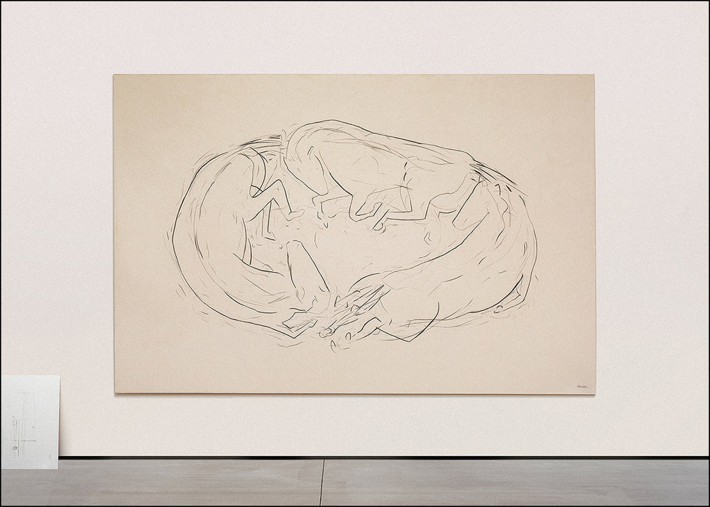 "Three Horses  - 2017 -Charcoal & Acrylic on Canvas -114"" x 75""(289.5 x 190.5cm)"