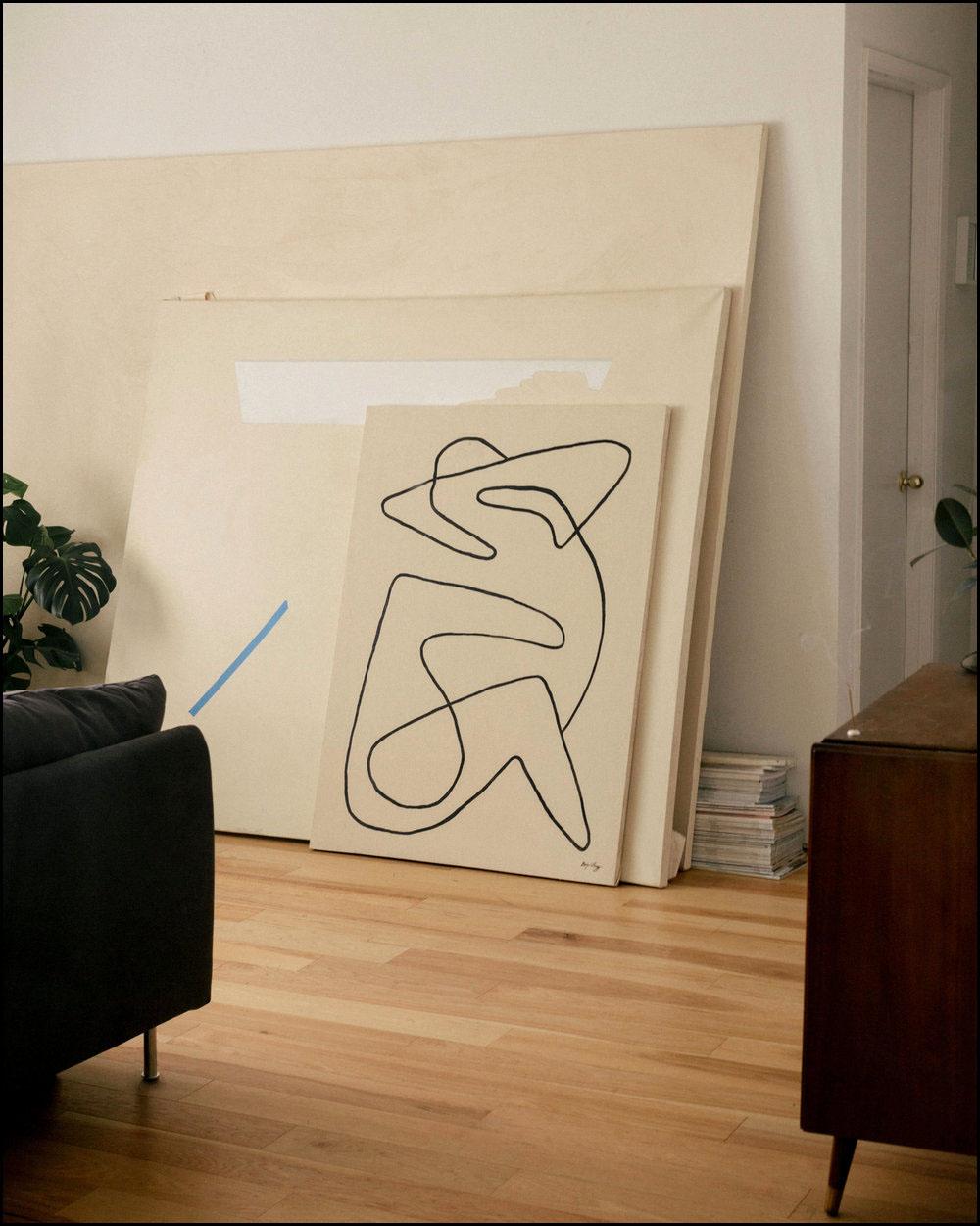 Bide  - 2017 -Ink & Acrylic on Canvas -36 x 48 Inches (91.4 x 121.9cm)