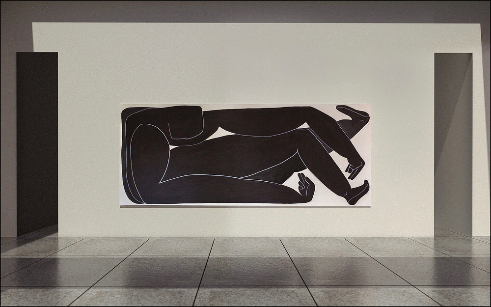 "Mendi  - 2018 -Tempera, Ink & Charcoal on Canvas 60"" x 144""(152.4 x 365.8cm)"
