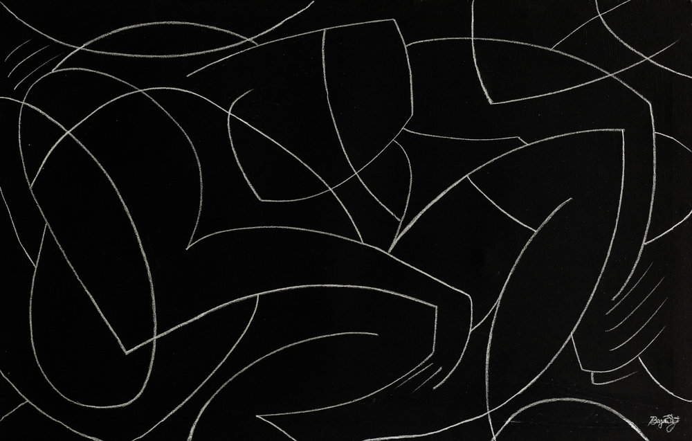 Requisite  - 2018 - Charcoal on Acrylic on Canvas -48 x 30 Inches (121.9 x 76.2cm) - $3,600 USD