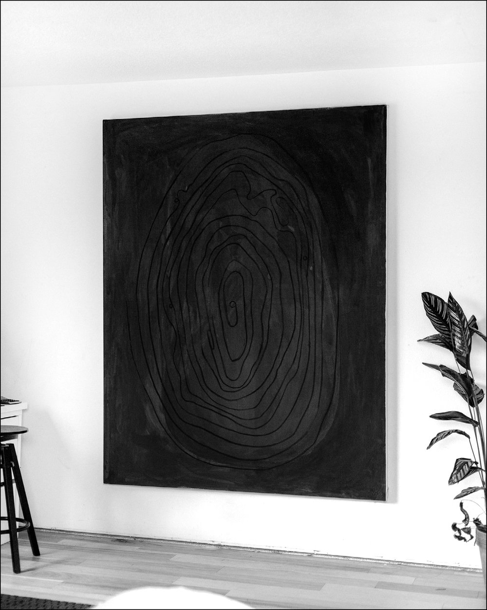 Void  - 2016 - Charcoal on Paint on Canvas - 60 x 78 Inches (152.4 x 198.1cm) — $7,200 USD