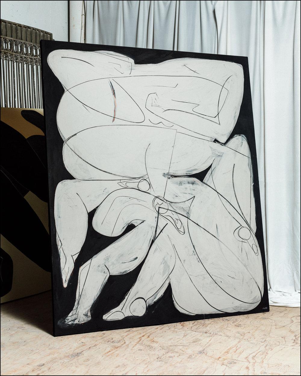 Censure  - 2018 - Tempura, Charcoal & Oil Pastel on Canvas - 60 x 72 Inches (152.4 x 182.8cm) - $8,000 USD