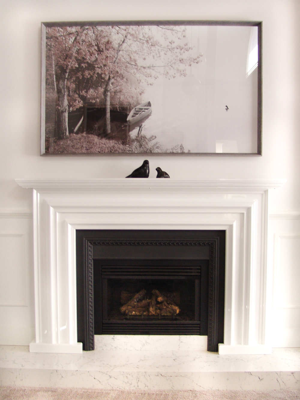 Formal Lounge Fireplace  Redesign with custom mantle and stunning artwork