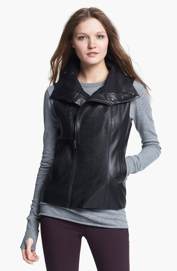 Faux Leather front zip vest by Echo. Nordstrom