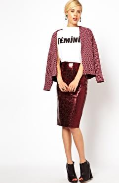 ASOS petite pencil skirt in metallic leather. $160.18.