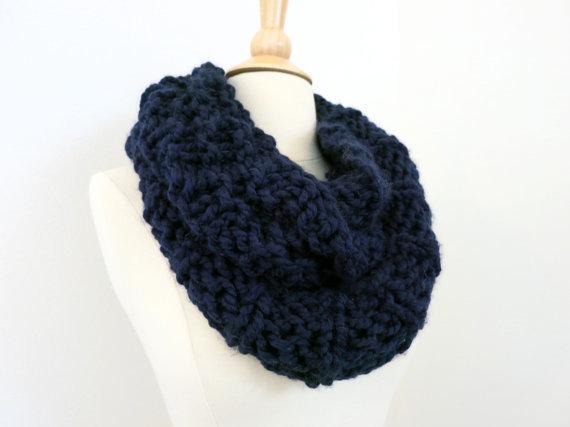 The Genesee chunky infinity scarf. Navy. Hook&Stem Designs.