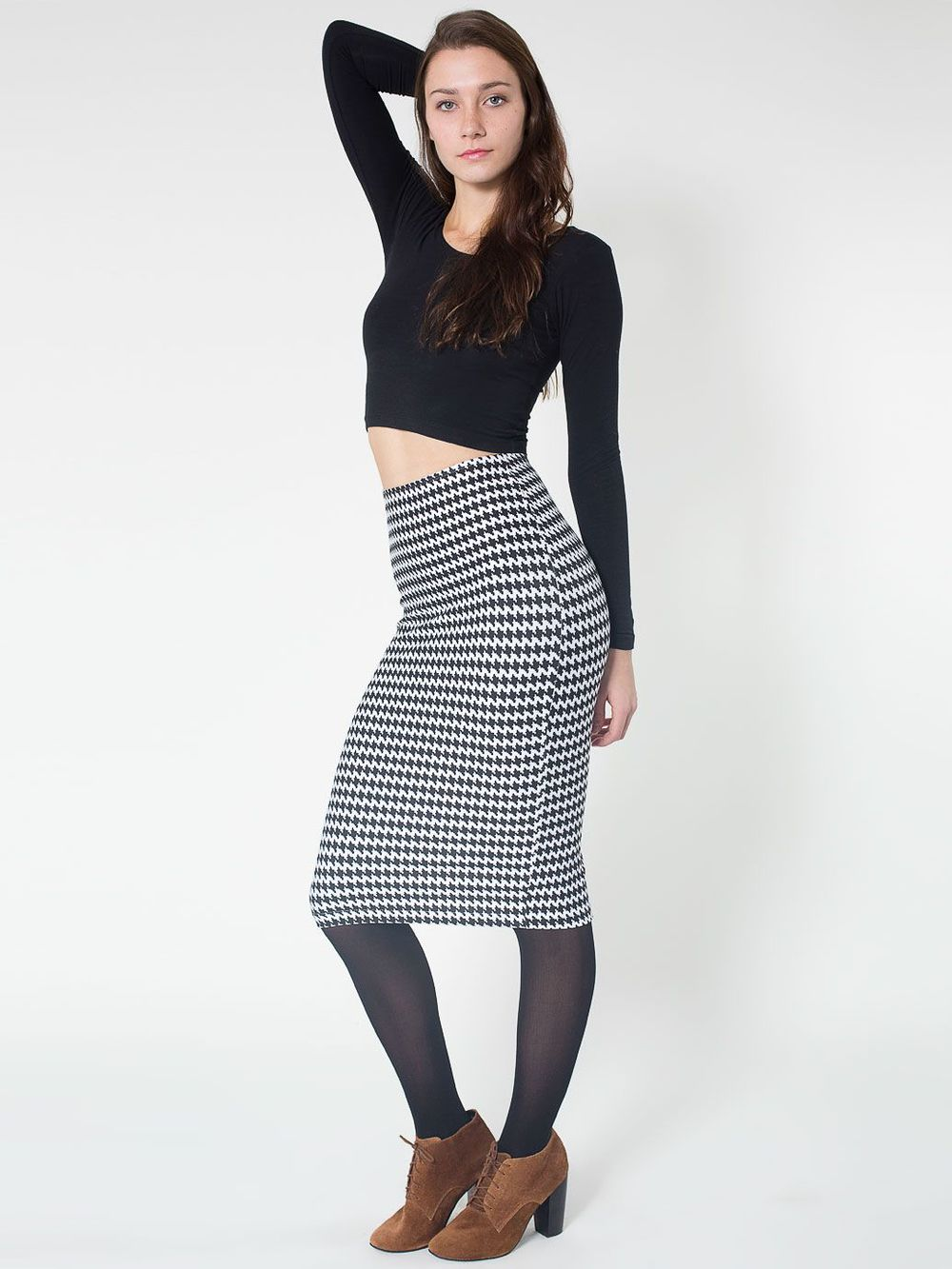 Houndstooth mid length pencil skirt. American Apparel. $42.