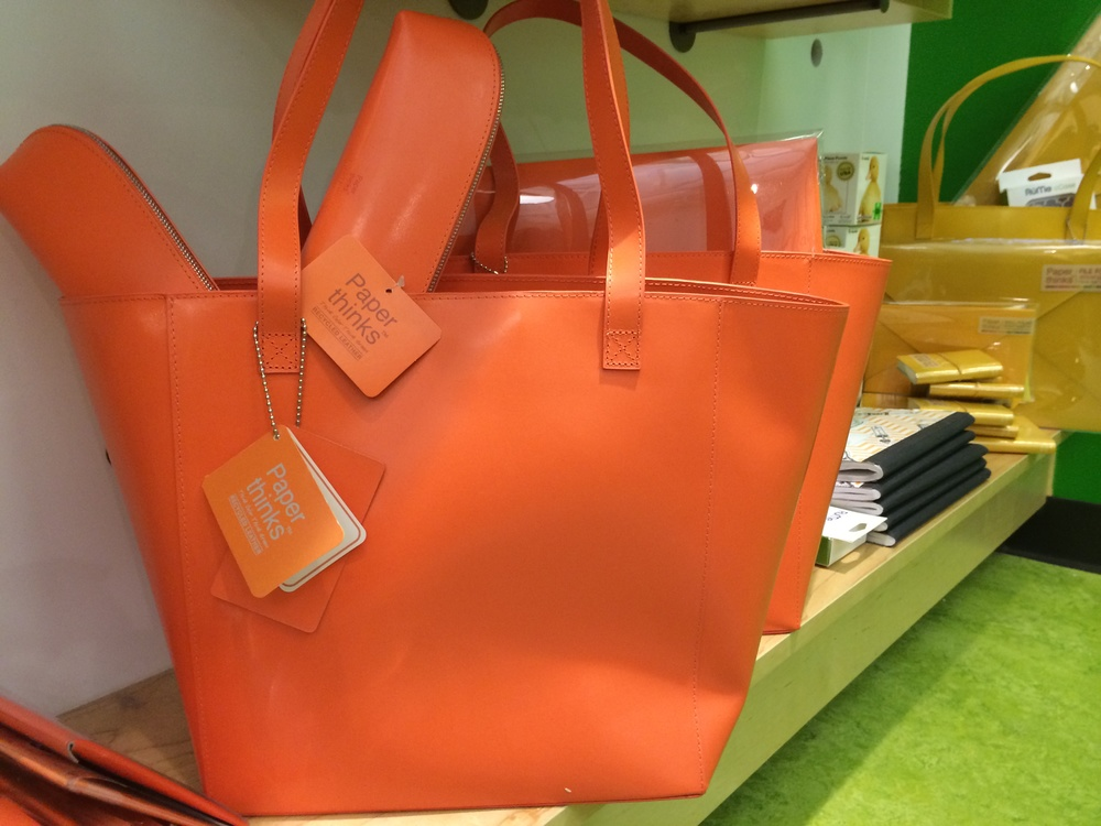 Paper thinks orange leather tote bag from  Cleanscapes.  Enter to win by signing up for the Poplin e-mail list  here .