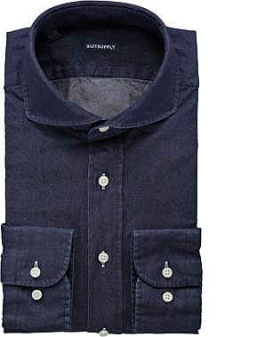 Blue washed shirt single cuff H4133. Suit Supply. $129.