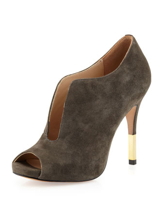 Pour la Victoire Vivie Split-Vamp suede bootie. Charcoal. Also available in purple which would look lovely with this dress and a different combination. Neiman Marcus Last Call. Compare to: $285. Was: $219. Now: $131.40.