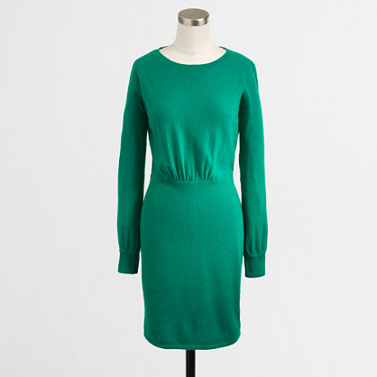 Factory warmspun sweater dress. J Crew Outlet. Available in black or green. Was: $108. Now: $52.99.
