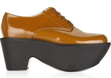 Jil Sander Navy Patent-leather platform brogues. The Outnet. Was: 465. Now: $186.