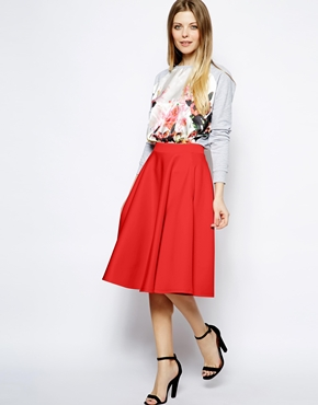ASOS Full midi skirt in scuba with pockets. Available in red or peach. ASOS. $64.82