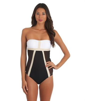 LUXE by Lisa Vogel. Mrs. Bond Maillot color block one piece swimsuit. Swim Spot. $135.