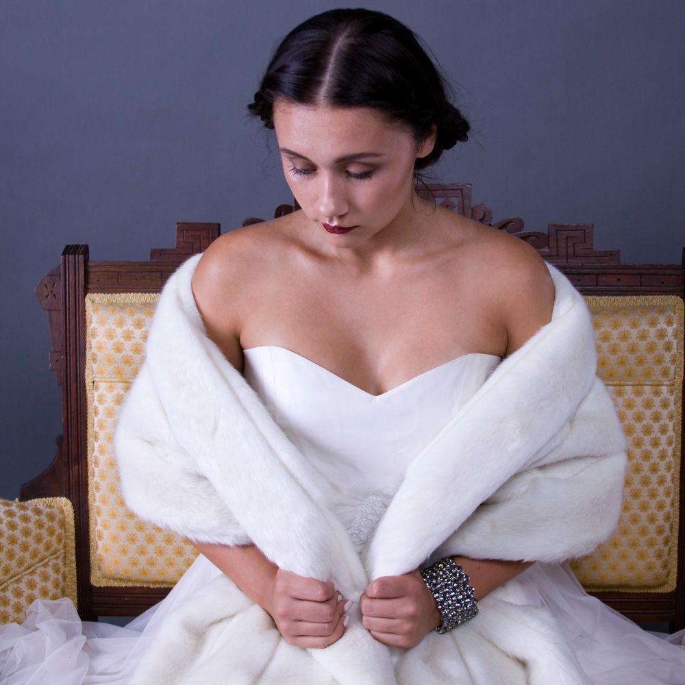 Faux fur mink bridal wrap ivory. Foxglove Bridal. $150.