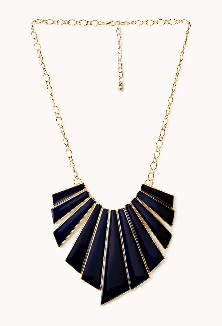 Retro fan bib necklace. Available in navy blue or red. Forever 21. $7.80