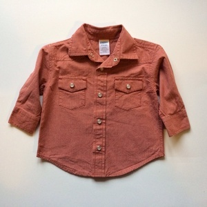 Boys Gymboree rust colored boys button up. Size: 6-12 months. The Rookery Kids. $6.50.