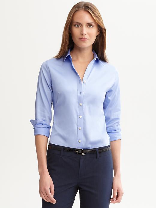 Non Iron Sateen top. Available in multiple colors. Pastels are huge right now, so I chose light blue. Banana Republic. $69.50. Save 30% with a purchase of $150 or more right now. CODE: BRMARCH30