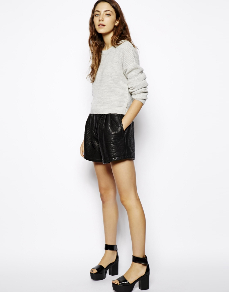Textured shorts in leather look. ASOS. $65.85.