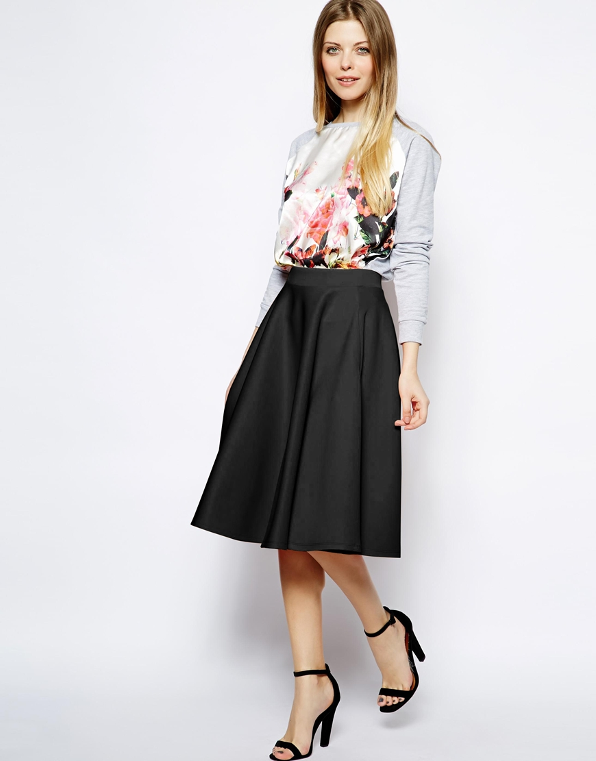 ASOS Full midi skirt in scuba with pockets. No longer available in red, yellow. Currently available in black, wine, mint green. Was: $65.85 Now: $48.92.