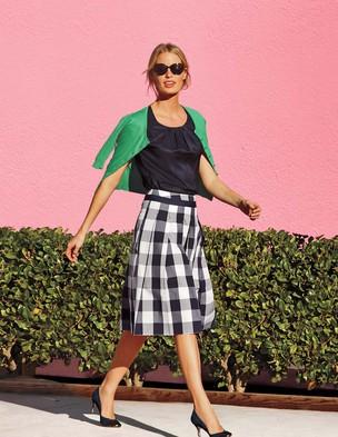 Poppy skirt. Available in black/white, green/white, grey/white. Boden. $98.