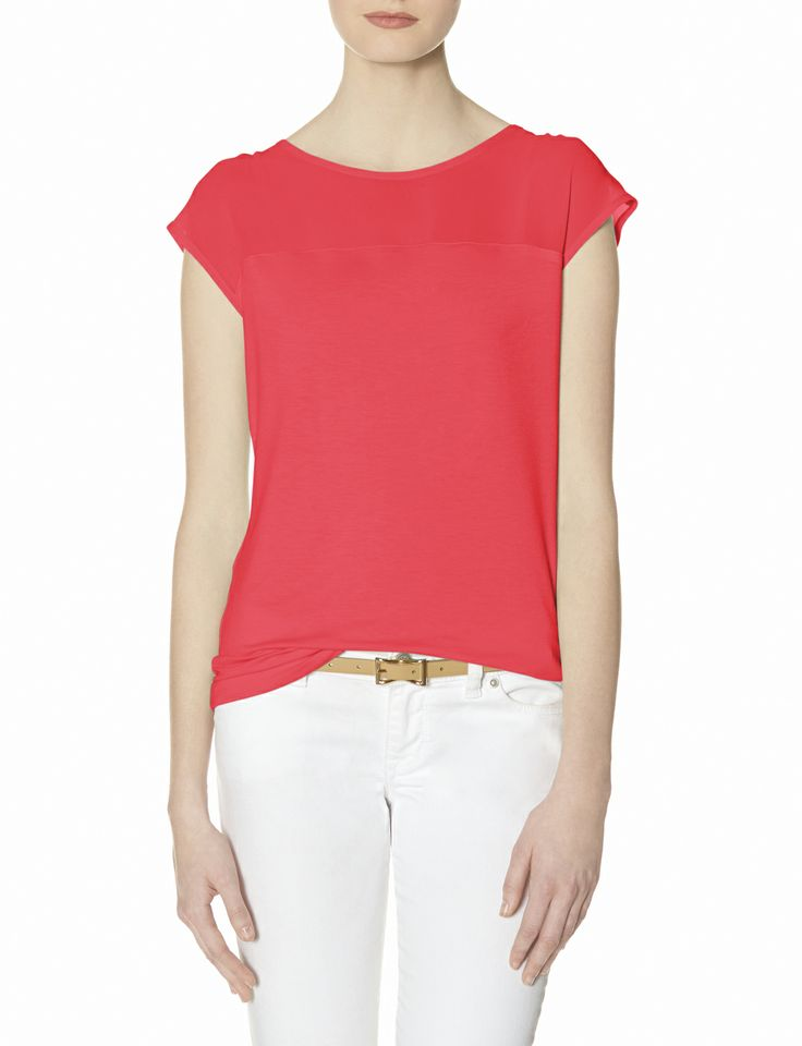Sheer Yoke top. Available in blue, cherry red, peach, mint green, black, white. The Limited. $34.95.