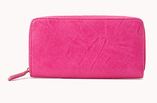 Faux Leather wallet. Available in hot pink, red, black. Forever 21. $10.80.