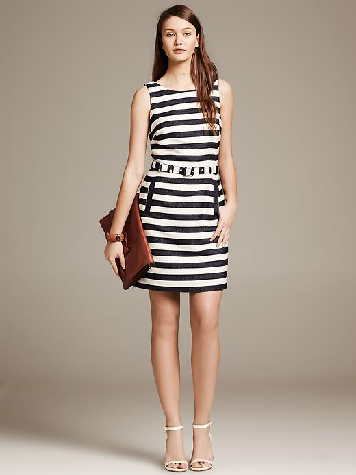Heritage textured stripe belted sheath. Banana Republic. $130.