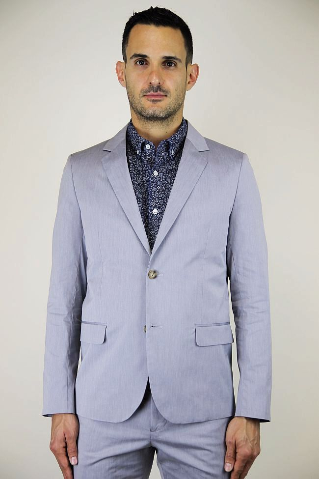 Steven Alan Oliver Jacket in steel blue. Ian. $475.