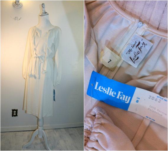 Deadstock Leslie Faye ivory knit dress. Thecitizenrosebud. $54.