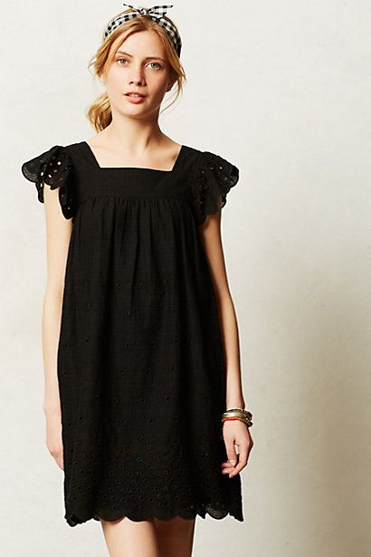 Personal style words: Feminine, relaxed. youthful. Mai Eyelet shift. Available in black, white. Anthropologie. $118.