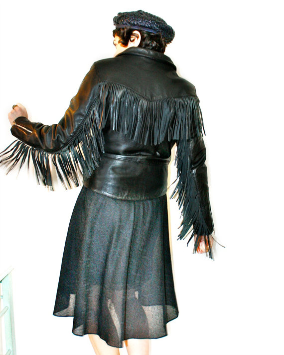 Biker black leather jacket with fringe by Drag Specialties. Thecitizenrosebud. $189.