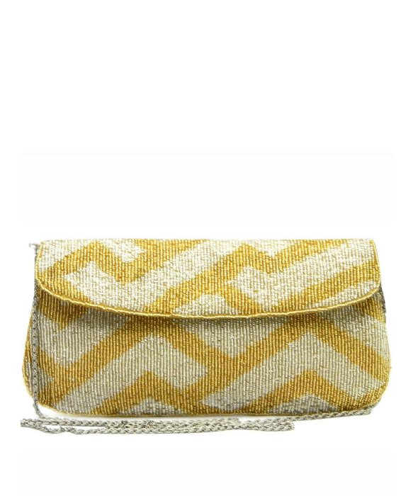 KC Malhan Sazou gold silver clutch. Blue Fly. $58.