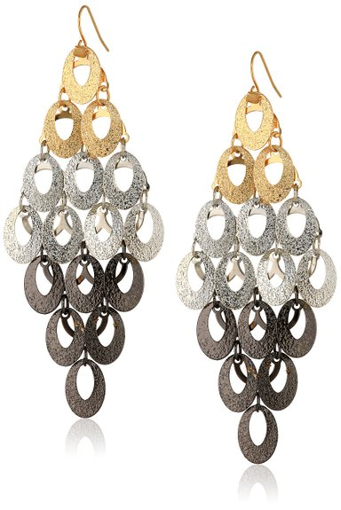 Steve Madden Mixed Metallica Tri Tone Glitter Oval chandelier drop earrings. Amazon. $24.