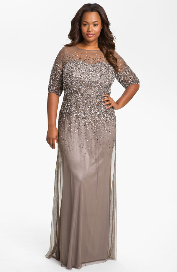 Adrianna Papell Beaded Illusion Gown. Available in plus sizes. Nordstrom. $335. Also in White and Navy.